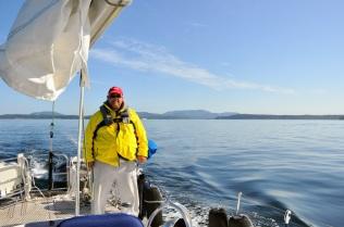Motoring down San Juan Passage.