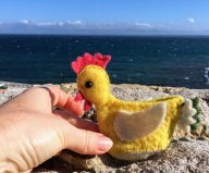 Miss Chicken looks back at Morocco from Tarifa.